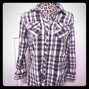 Justice Size 16 checkered button up with sequins